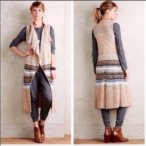 Anthropologie tan Oullins Jacquard sweater vest